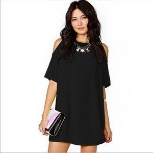 Dresses & Skirts - 《 Black Chiffon Cold Shoulder Dress 》